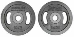 Hammer Fitness Hammer - Olympische Halterschijven - Gietijzer - per Paar - 2x 15 kg - Zwart - 50mm