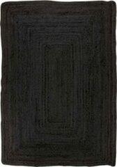 Hioshop Broom vloerkleed 90x60 cm in jute donkergrijs.