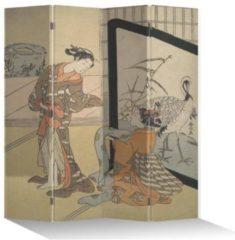 Beige Fine Asianliving Chinees Kamerscherm 4 Panelen Japanse Vrouwen