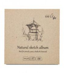 Naturelkleurige SMLT Schetsboek Vierkant 14 cm 100gr 48 vel Natuurlijk Bruin