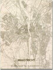 Naturelkleurige Brandthout houten stadskaart Maastricht 70x50 cm