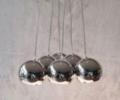 DeLife Deckenleuchte Pentola Chrom Silberfarben 45 cm 6 Schirme Hängeleuchte