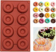 TrendX® Siliconen Donutvorm / Donut Bakvorm - 8 Cavity - Bruin
