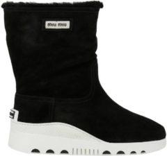 Nero MIU MIU Sneakers A Stivaletto In Camoscio Con Interni In Montone Sintetico