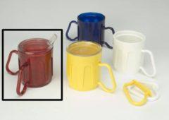 Adhome Beker met 2 aanpasbare handvatten Medeci® Cup 340 ml - rood transparant