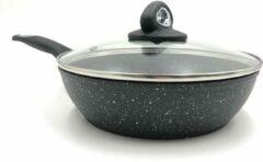 Zwarte Blackstone Sterk Koekenpan 28cm in Steen-look, Gegoten Aluminium, Anti-Aanbaklaag, Geschikt voor Alle Warmtebronnen, ook inductie