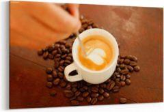 Prints4you Schilderij - Koffie en koffiebonen — 90x60 cm