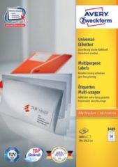 Avery witte etiketten QuickPeel ft 70 x 29,7 mm (b x h), 3.000 stuks, 30 per blad, doos van 100 blad
