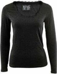 RJ Bodywear Dames Shirt Lange Mouw Thermo Kant zwart mt XL