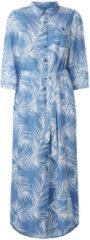 Expresso maxi blousejurk Elyana met bladprint en ceintuur lichtblauw denim