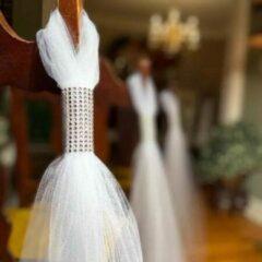 Zilveren Autodeco.nl Bruiloft decoratie/ Stoelversiering Huwelijksceremonies 6 stuks
