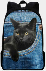 Paarse Socofy-1 Oxford Large Capacity Cat Pattern Printing Backpack
