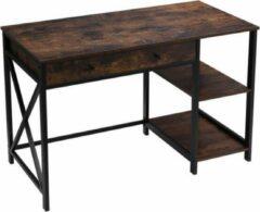 MIRA home MIRA Bureau - Computertafel met lade en planken - Tafel met X-poten - Vintage - Industrieel - Bruin/zwart - 115x60x76