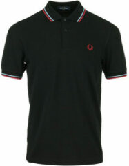 Fred Perry regular fit polo zwart/oranje