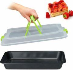 Relaxdays bakvorm met deksel - taartdoos - transportbox voor taart - 3 in 1 zwart
