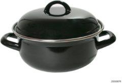 Zwarte Imperial Kitchen Braadpan met deksel - Emaille - Zwart - Ø 24 cm