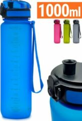 Drinkfles 1 liter - Sport Drinkbus Bidon 1000 ml Blauw - King Mungo KMDF007