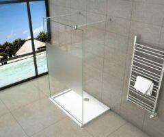 Sanexo Inloopdouche Vrijstaand Chrysant 1100x2000 10mm Semi Gesatineerd Glas Chroom