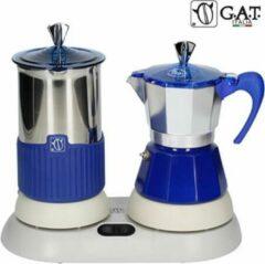 G.A.T. Italia Gatpuccino Blauw Elektrische Percolator met Melkopschuimer - 4 kops - 200ml