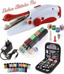 Deluxe Stitcher Pro - PREMIUM Handnaaimachine met Adapter en 96 Delige Starterskit - Mini naaimachine - Compact - Draadloos - Draagbare Reis Hand Naaimachine - Incl. 38 spoelen met garen - Elektrisch of op Batterijen