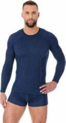 Brubeck | Heren Thermo Active Ondershirt met Merino Wol - Naadloos- Lange Mouw -Marineblauw-XL