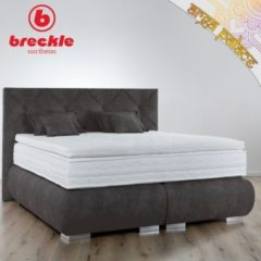 Breckle Boxspringbett Arga Palace 140x200 cm inkl. Gel-Topper Platin Premium & Kissenset