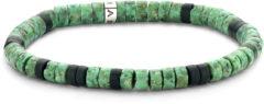 Frank 1967 Beads 7FB 0421 natuurstenen armband - stretch - donker groen / zwart