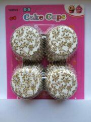 Het Borstelhuis vof Cupcake Vormpjes Papier - Muffin Vormpjes - 100 Stuks - Diameter 5 cm - Wit-Goud Takjes