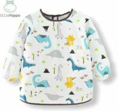 Kinderschort 'Dino' lange mouwen - Slab met mouwen - Slabbetje Little hippo - Waterafstotend - Knutselen - Kliederschort - 3 tot 5 jaar