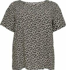 Zwarte ONLY CARMAKOMA CARFIRSTLY LIFE SS TOP NOOS Dames T-shirt - Maat XXL (44)