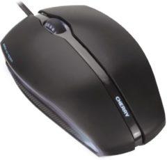 Zwarte CHERRY Gentix Illuminated USB Optisch 1000DPI Ambidextrous Zwart muis