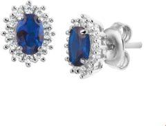 The Jewelry Collection TFT Oorknoppen Zirkonia En Synthetische Saffier Zilver Gerhodineerd Glanzend 8.5 mm x 6 mm