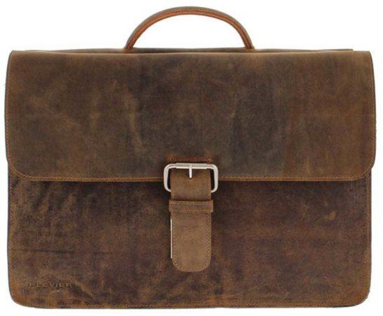Afbeelding van Bruine Laptoptas Plevier Antiek Leren Business Laptoptas Zeppelin 3-Vaks 17 inch