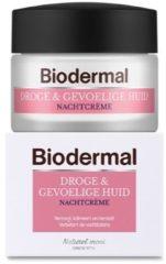 Biodermal Droge & Gevoelige Huid Nachtcrème - Hydrateert en herstelt - 50ml