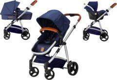 Blauwe Combi Deal! Born Lucky Kinderwagen Rapido Starlight Blue + Gratis Verzorgingstas & Tashaken