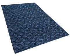 Beliani Vloerkleed marineblauw 140 x 200 cm laagpolig SAVRAN