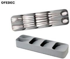 FEDEC Multifunctionele Bestekbak - Grijs - Kunststof - 40x12x6 cm