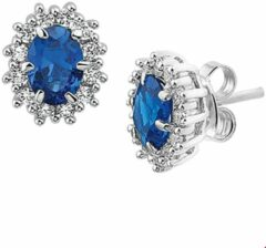 Blauwe Huiscollectie TFT Oorknoppen Zirkonia En Synthetische Saffier Zilver Gerhodineerd Glanzend 11 mm x 9.5 mm