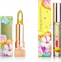 GLAMFOX Honey Flower Lipgloss + Lipstick 2 Stuks - 100% Echte Bloem - 24K Goudpoeder - Korean Skincare - Lip Plumper - Lip Plumping - Lipgloss Transparant - Lippenstift Langhoudend - Long Lasting - Essence Make Up - Beauty - Make-up - Lip Makeup