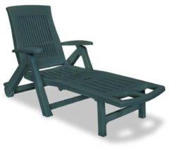Groene Vidaxl ligstoel met voetensteun kunststof groen