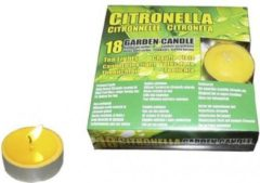 Gele Merkloos / Sans marque Set van 18x anti muggen waxine lichtjes - Geurkaarsen citrus geur - Anti-muggen citronella