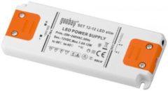 Goobay SET 12-12 LED slim LED-driver, LED-netvoeding 12 W 12 V DC klem + 3,7 mm DC-bus 1000 mA LED-stroomverzorging Vaste spanning Transformator Trafo