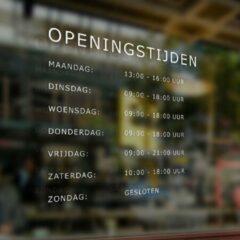 Sticker Namenenzo Openingstijden sticker 60 x 60 cm - Wit   Raamstickers   Winkel deur   Decoratie   Winkel decoratie