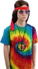 Bellatio Tie-dye t-shirt rainbow voor kinderen Xs (3-4 jaar)