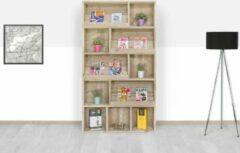 Bruine Merkloos / Sans marque Steigerhouten boekenkast - Vakken - 120x40x160 hoog - oud steigerhout
