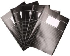 5x zwarte A4 lijntjes schriften pakket