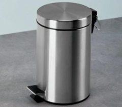 Roestvrijstalen Lucy's Living Luxe pedaalemmer RVS Soft-close - 3 L – Ø 17 cm x H 26 cm - badkamer – toilet - wc