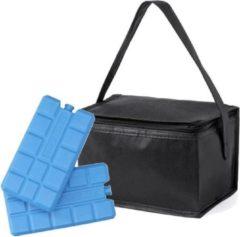 Merkloos / Sans marque Kleine mini koeltas zwart voor 6 blikjes inclusief 2 koelelementen - Compacte koelboxen/koeltassen en elementen