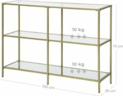 Songmics VASAGLE console tafel, bijzettafel met 3 planken van gehard glas, banktafel, moderne opbergrek, stabiel, eenvoudig te monteren, woonkamer, hal, slaapkamer, keuken, goudkleurige LGT27G