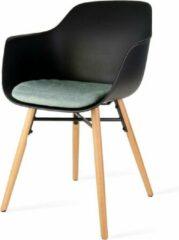 Nolon Nena eetkamerstoel - Zwarte zitting met armleuningen en zacht groen zitkussen